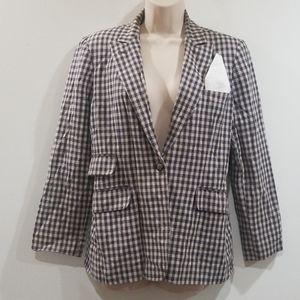 Harve' Benard women's vintage brown plaid blazer